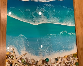 Resin 3D wave art on 16x20 birchwood panel