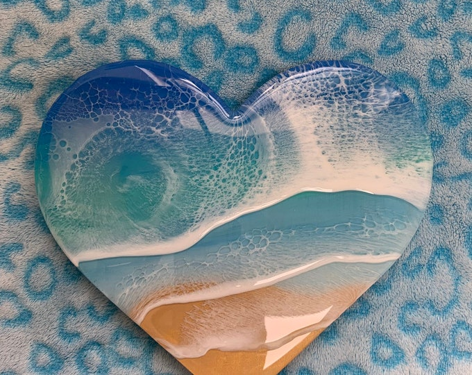 Featured listing image: 3D resin ocean waves wall art wood heart 9 inches