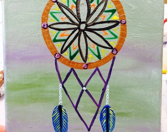 Hand painted Original Painting On 8x10 Canvas, dream catcher