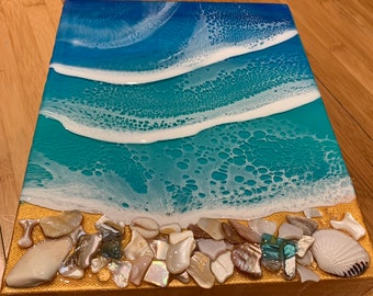 Resin 3D wave art on 8x10 birchwood panel