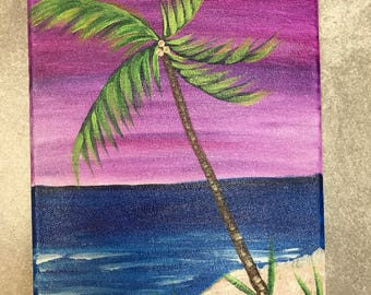 Hand painted key west palm tree storm original on 8x10 canvas