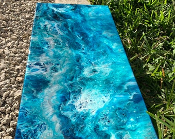 Resin pour ocean art on 10x20 canvas