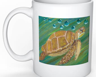 "Original Painting Key West Sea Turtle Print on 3.15"" x 3.15"" coffee mug"
