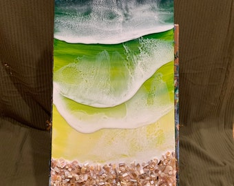 Resin 3D wave art on 10x20 canvas