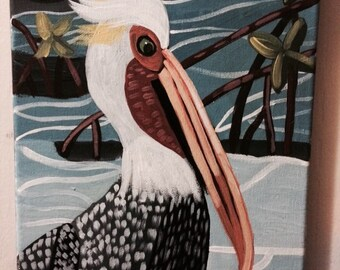 Hand painted Original Painting On 9x12 Canvas, Key West Pelican mangroves
