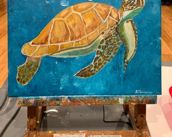 Sea turtle acrylic painting on 11x14 canvas