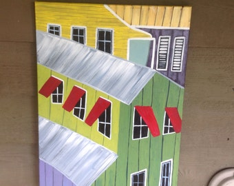 Hand Painted Original Painting On 18x24 Canvas, Key West Conch house collage