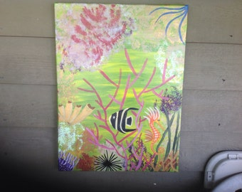 Hand Painted Original Painting On 18x24 Canvas, Key West Coral Reef