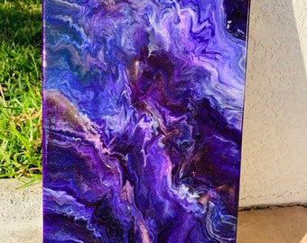 Purple reain wall art on 10x20 canvas
