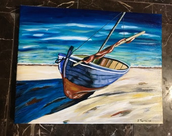 Boat on the beach  on 11x14 canvas