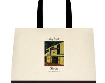 Key West Capt. Tony's Saloon Original Print on 18x15 Tote Bag