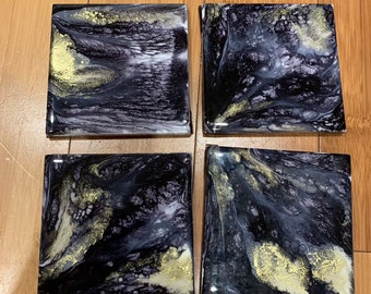 Set of 4 square resin tile coaster