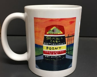 "Original Painting Key West Southernmost point Print on 3.15"" x 3.15"" coffee mug"