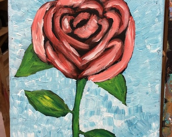Hand painted Original Painting On 8x10 Canvas, Key West Red Rose