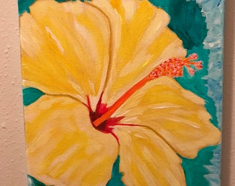 Original yellow hibiscus painting on 9 x 12 canvas