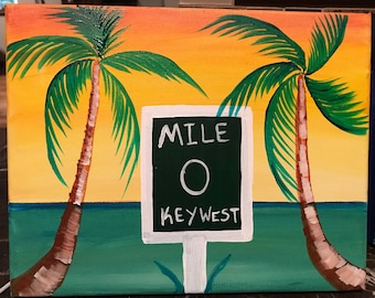 Hand painted Original Painting On 8x10 Canvas, Key West Sunset With Ocean And Palm Trees mile 0