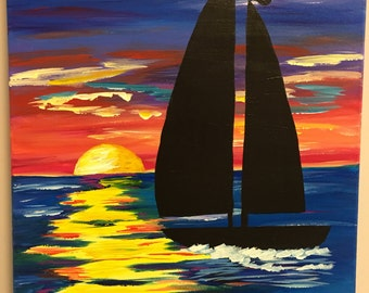 Sunset Sailboat Painting On 16x20 Canvas
