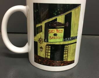 "Original Painting Key West Capt Tony's Saloon Print on 3.15"" x 3.15"" coffee mug"