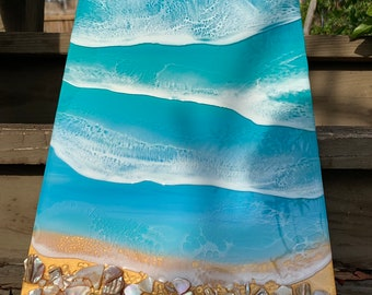 Resin 3D wave art on 10x20 brchwood panel