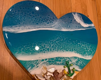 3D resin ocean waves wall art wood heart 9 inches