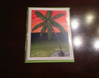Notecards Note Cards Blank Inside Original Art Key West Pam Tree 4.25 x 5.5
