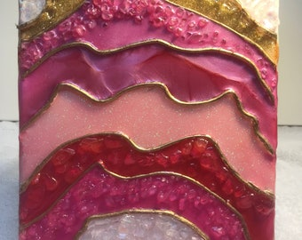 Abstract resin geode on 8x10 canvas pinks and golds