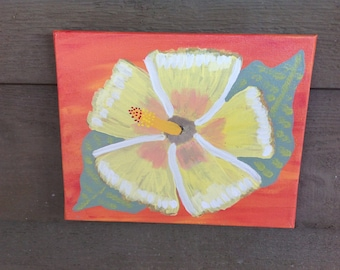 Hand painted Original Painting On 8x10 Canvas, Key West Yellow  Hibiscus Flower