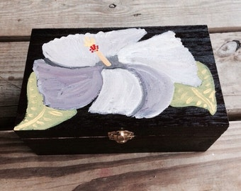 Hand Painted Purple Hibiscus Jewelry Box