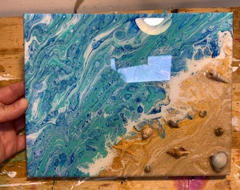 Resined Arcrylic pour ocean  Beach Embelished with seashells on 8x10 canvas