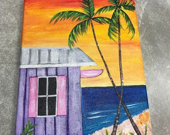 Hand painted Original Painting On 9x12 Canvas, Key West Beach House With Ocean