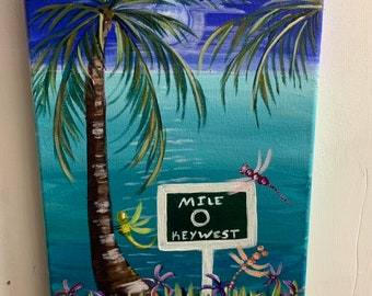 Mile zero key west painting on canvas