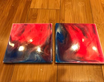 Set of 2 resin cermaic tiles coasters