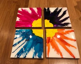 Set of 4 square resin tile coaster