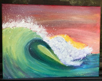 Hand painted Original Painting On 9x12 Canvas, Key West wave