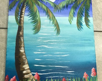 Key west Palm Tree moonlight  on 16 x 20 canvas