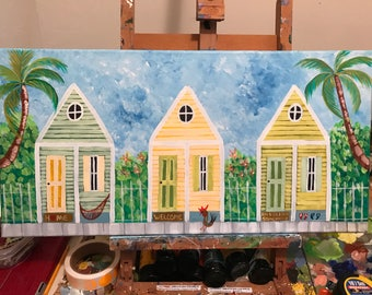 Hand painted Original Painting On 12x24 Canvas, Key West Conch Houses