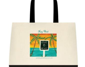 Key West Mile Zero Palm Trees Saloon Original Print on 18x15 Tote Bag