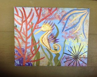 Hand Painted Original Painting On 11x14 Canvas, Key West Sea Horse Reef