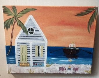 Hand Painted Original Painting On 11x14 Canvas, Key West Conch House Beaches