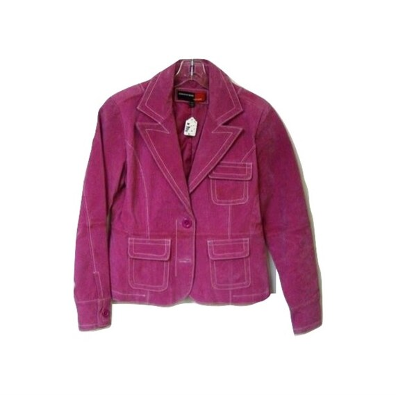 Hot Pink Leather Blazer Jacket White Stitching Wid