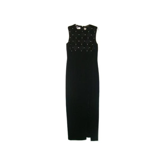Niteline Long Black Sleeveless Tank Dress Gown W/