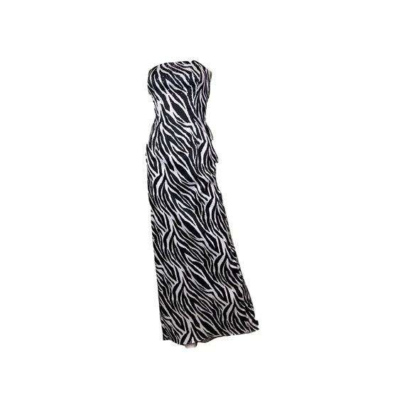 Zebra Print Satin Rhinestone Tuxedo Gown