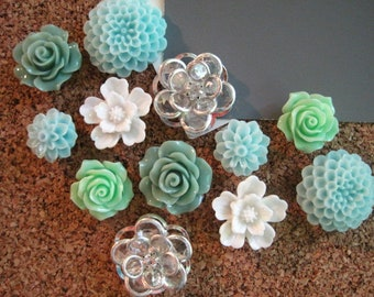 Thumbtacks, 12 Pc Flower Pushpin Set In Sage, Mint Green, Aqua, White,  Rhinestone, Bulletin, Wedding Decor, Gifts, Art Board, Office Supply