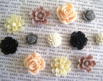 Pretty Magnet Set, 12 pc Flower Magnets, Locker Magnets, Ivory, Navy, Mauve, Peach, Gray, Girls Room Decor, Hostess Gifts, Wedding Favors