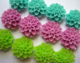 Pretty Magnet Set 12 pc Flower Magnets in Aqua, Lime Green, Lilac Neodymium Magnets..  Housewarming Gifts, Hostess Gifts, Wedding Favors