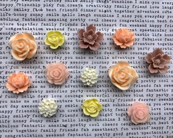 Pretty Magnet Set, 12 pc Flower Magnets, Locker Magnets, Pastel Decor, Girls Room Decor, Hostess Gifts, Wedding Favors, Cottage Chic
