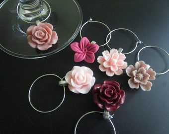 Flower Wine Charms, Pretty Wine Tags, Set of 6, Drink Marker, Housewarming Gift, Burgundy, Pink, Mauve