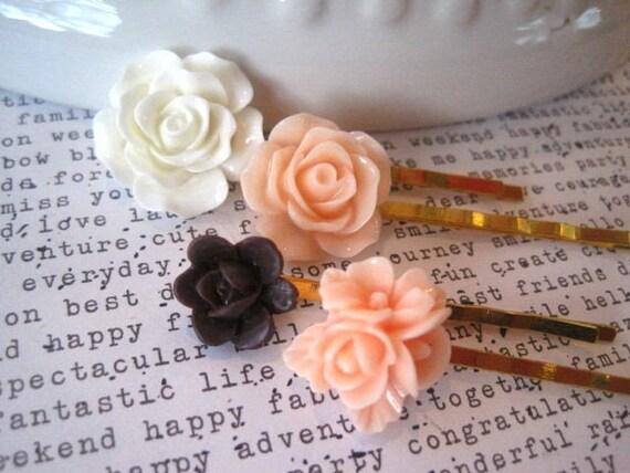 Ensemble d'épingle à cheveux, 4 épingles à cheveux doré fleur blanche, pêche et chocolat, mariage, demoiselle d'honneur, cadeau, cadeau pour femme, cadeau de Noël, petit cadeau