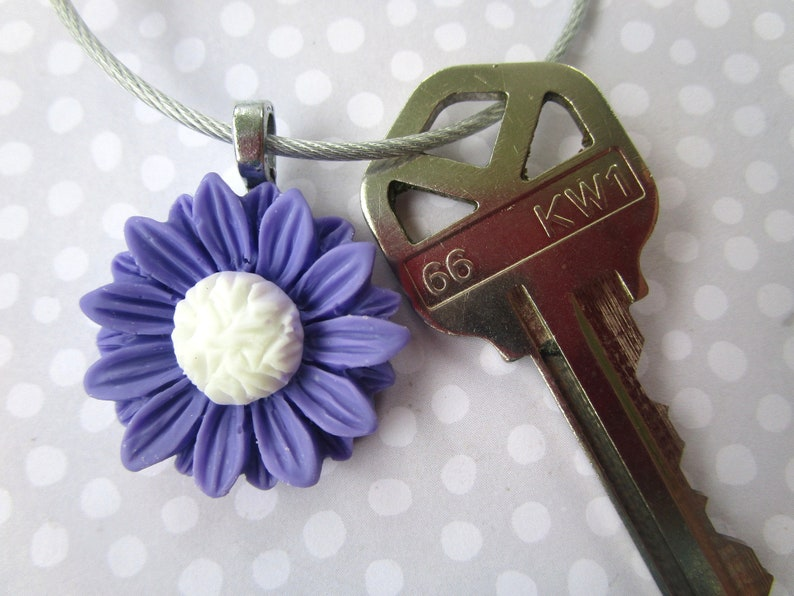 Accessory Gift under 10 Cable Keychain Purple Sunflower Key Chain Stocking Stuffer