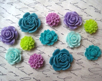 Cute Magnet Set 12 pc Fridge Magnets, Purples and Greens, Kitchen Decor, Office Decor, Housewarming Gifts, Hostess Gifts, Wedding Favors
